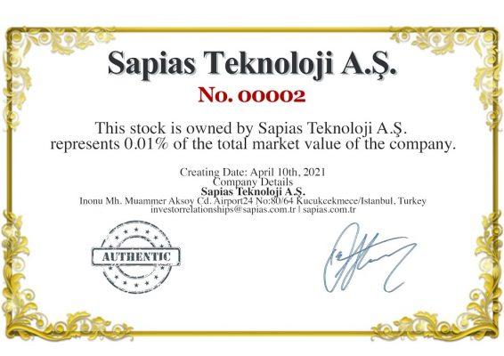 Sapias Teknoloji A.Ş. NFT Hisse Senedi